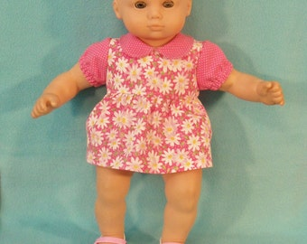 15 inch Doll Pink Daisy Dress and Matching Under Bloomers