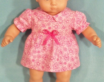 15 inch Doll Pink  Dress and Matching Under Bloomers
