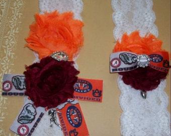 House Divided Alabama vs Auburn University Inspired,Wedding Garter,Auburn Garter,Sports Garter,Football Garter,Plus Size Garter