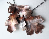 Copper plated Real oak leaves brooch, copper acorn, metal necklace, electroformed leaf, leaf jewelry, electroforming, unique custom jewerly