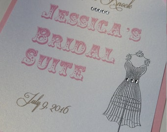 Please Knock-Name of Bride and Wedding Date-elegant Bridal Suite-hand stamped with ribbon and crystals-hang on door