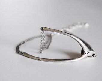 Wishbone Bracelet- Organic Wishbone- Modern Tree Branch Style Bracelet in a Wishbone Shape