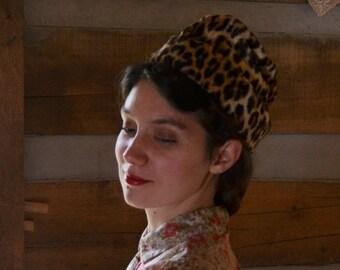 Vintage Hat Leopard Print Fur Winter Hat 1940s 1950s 1960s