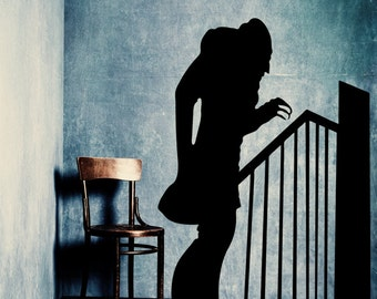 Large Nosferatu w/Stairs Shadow Vinyl Wall Art Graphic Horror Vampire-CHOOSE ANY Color