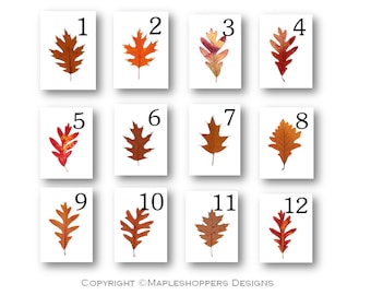 INSTANT DOWNLOAD-Print Your Own-Assorted Brown Oak Leaf Table Numbers-12 Flat Cards 5x7 inches-PDF Format-Autumn Wedding-Thanksgiving etc