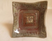 small Square Trinket Dish, Ring dish, Heart Motif