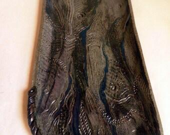 handmade Stoneware Plate/platter, Mountain Stream PLATE, wabi-sabi