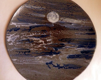 Stoneware Plate / platter, Sea and Sand, handmade