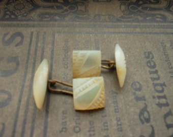 Art Deco Cuff links carved mother of pearl.  Beautiful and classic works of art