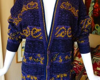 1980s Cardigan Sweater Oversized Slouchy Boyfriend purple & mustard