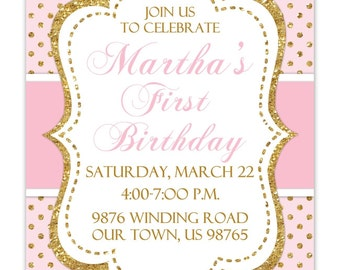 First Birthday Invitation, Photo Card, custom design for YOU, pink and gold polka dots, Gold Pink 1st Birthday Invite, digital