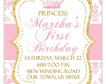 Princess Birthday Invitation, Photo Card, Damask and Gold Glitter, custom design for YOU, Gold and Pink 1st Birthday Invite, digital