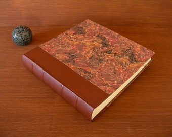 Leather spine photo album - cafe brown with brown French marbled paper - 12x12in.30x30cm.-Ready to ship