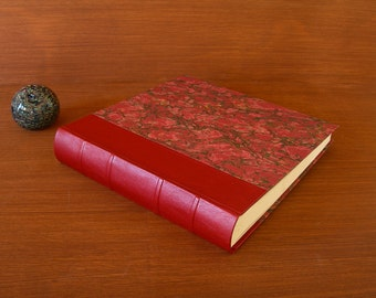Leather spine photo album - red with red French marbled paper - 12x12in.30x30cm.-Ready to ship