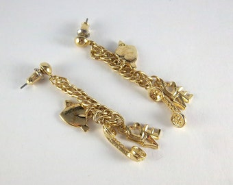 Vintage Love Earrings - Gold Heart Telephone Earrings