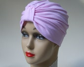Lower Price: Organic Cotton Petal Pink Turban, 4 Way Stretch, Soothing, Chemo or Sleep Cap, Two Sizes