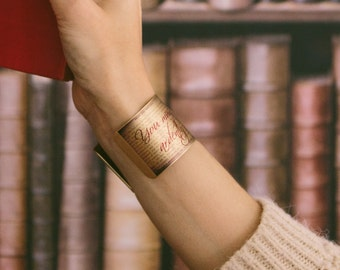 Christmas Gift For Her - Jane Austen Jewelry Pride and Prejudice Literary Book - Brass Cuff Bracelet - Literary Gift For Wife