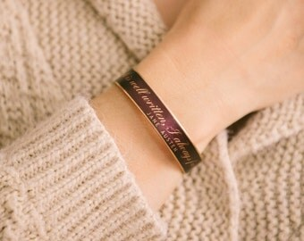Jane Austen Jewelry - Skinny Literary Quote Brass Cuff Bracelet - A Book Well Written - Cool Sister Gift