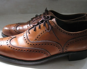 Vintage Dack's mens Wing Tip Ochre colour Brogue shoes