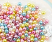 6mm Small Round Pastel Acrylic Pearl Plastic Beads - 500 pc set