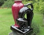 Vintage Art Deco Vase--Black Cat on Base--Made in Japan--Halloween--Toothpick Holder--Maroon and Black