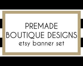 Black and White Stripes Premade Etsy Banner Set - Etsy Shop Banner Set - Etsy Banner Set - Premade Etsy Kit - 247486652
