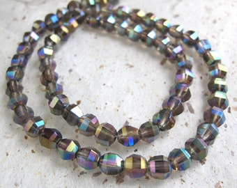 Extreme Mystic Smokey Topaz Faceted 7mm Step Cut Rondelle Beads 10 beads SET