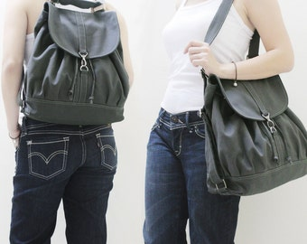Back To School SALE - 20% OFF Pressie in Dark Gray / Backpack / Satchel / Rucksack / Messenger / Tote / Women / For Her / Gift Ideas