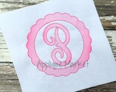 Machine Embroidery Design Scallop Circle Sketch Frame INSTANT DOWNLOAD