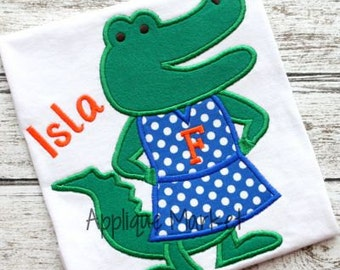 Machine Embroidery Design Applique Gator Girl Standing INSTANT DOWNLOAD