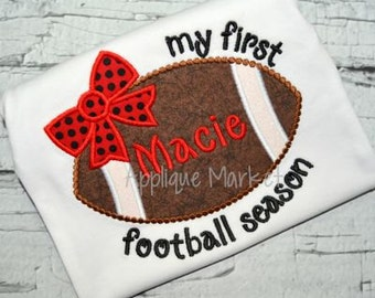 Machine Embroidery Design Applique Football Bow My First Season INSTANT DOWNLOAD