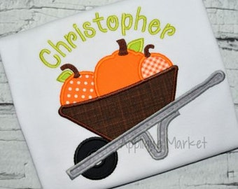 Machine Embroidery Design Applique Pumpkin Wheel Barrow 2 INSTANT DOWNLOAD