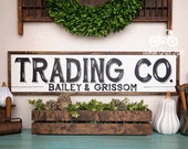 """Hand Painted Sign, Wooden With Trim, 36""""x9"""" TRADING CO. Sign, Black Lettering, Vintage Inspired, Blogger, Gallery Wall"""