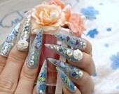 Stiletto nails, super long nails, bling, Japanese 3D nail, aqua blue, glittery, rose, floral, deco nails, rhinestones, frozen, princess,