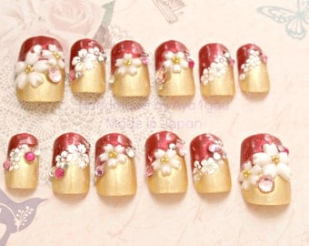 Christmas nails, Japanese 3D nails, kawaii nail, lolita accessory, red, gold, pretty nail, festive nails, waloli, sakura, cherry blossom,