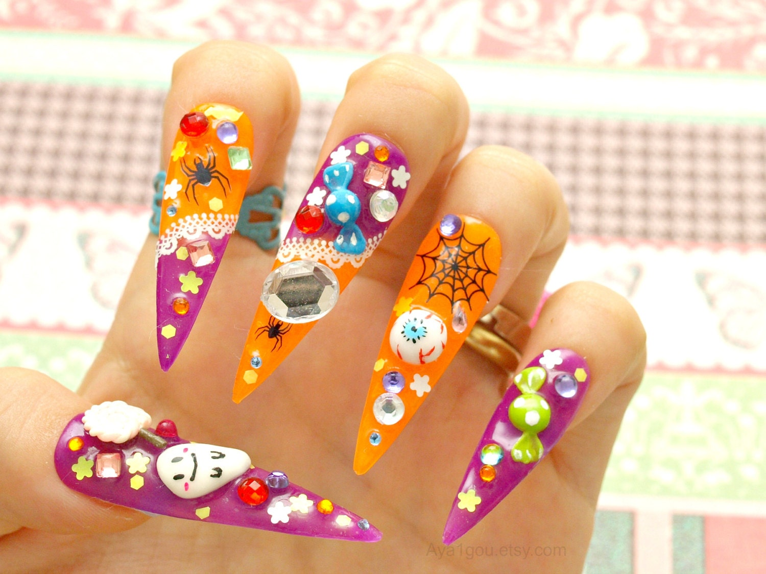 Stiletto nails long nails Halloween spooky glow in the by ...