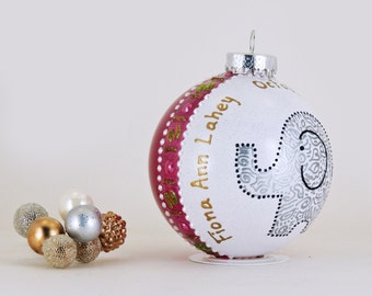 New Baby ornament - Personalized custom hand painted glass ornament - Adorable elephant