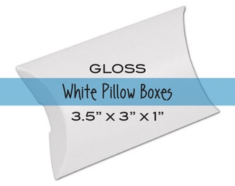 10 Small White Pillow Boxes or Jewelry Boxes for Treats, Favors & Gift Wrap . 3.5 x 3 x 1