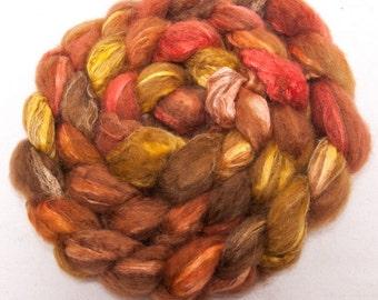 Alpaca, Tussah SILK, Hand dyed roving, 113g, luxury fibre, combed tops, spinning, fiber,  colour ; Cherish