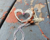 Silver heart necklace, heart pendant, silver and copper, large heart pendant
