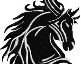 Horse Black and White stallion machine embroidery design