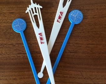 Vintage Airline Swizzle Stir Sticks Pan Am TWA Airplane Travel Retro Barware 50s 60s