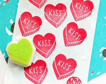 love heart hand carved rubber stamp. kiss hand lettered stamp. gift wrapping. gift tag making. wedding stationery. valentine's day crafts