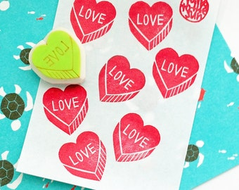 love heart stamp. hand carved rubber stamp. love hand lettered stamp. wedding birthday valentine gift wrapping. scrapbooking cards gift tags