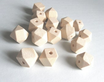 10 Faceted hexagon unfinished wood beads 12mm (PB203A)