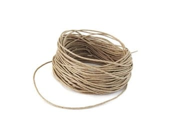 Linen Beige Waxed Cotton Cord 1mm - 10 meters / 32.8 ft  (C15)
