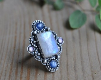 Sterling Moonstone Ring, Oxidised, Kyanite Metalwork Ring, Statement Gemstone Ring - Matmata Ring in Moonstone