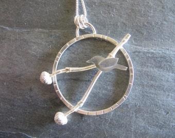 Pendant with Bird and Dogwood Twig in Sterling Silver