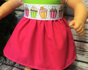 "15"" Doll Clothes, Baby Doll Birthday dress, Pink Limegreen doll dress, Ready to Ship, Handmade Doll Clothes, 15"" Baby Doll Clothing"