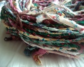 Hand-Twisted  Cotton Fabric Art Yarn,  Berries & Greens Colorway, 95 Yards